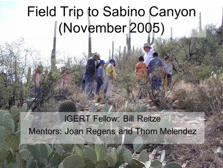 Field Trip to Sabino Canyon (November 2005) IGERT Fellow: Bill Reitze Mentors: Joan Regens and Thom Melendez.