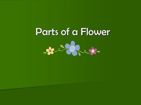 Parts of a Flower. About Flowers… Flowers differ in such features as size, shape, and color, but all flowers contain the same basic parts. Flowers differ.