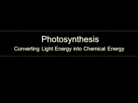 Converting Light Energy into Chemical Energy