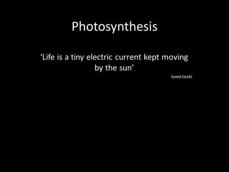 'Life is a tiny electric current kept moving by the sun' Svent Gorki