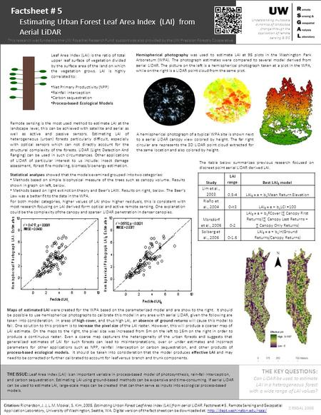 Citation: Richardson, J. J, L.M. Moskal, S. Kim, 2008. Estimating Urban Forest Leaf Area Index (LAI) from aerial LiDAR. Factsheet # 5. Remote Sensing and.