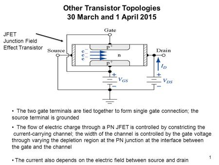 1 Other Transistor Topologies 30 March and 1 April 2015 The two gate terminals are tied together to form single gate connection; the source terminal is.