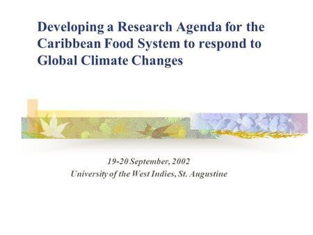 Developing a Research Agenda for the Caribbean Food System to respond to Global Climate Changes 19-20 September, 2002 University of the West Indies, St.