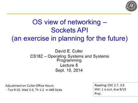OS view of networking – Sockets API (an exercise in planning for the future) David E. Culler CS162 – Operating Systems and Systems Programming Lecture.