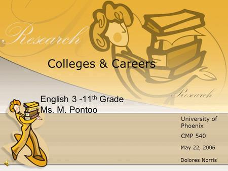 English 3 -11 th Grade Ms. M. Pontoo May 22, 2006 Colleges & Careers University of Phoenix CMP 540 Dolores Norris.
