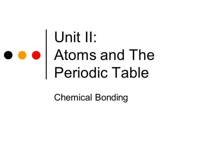 Unit II: Atoms and The Periodic Table Chemical Bonding.