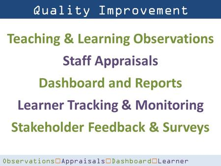 Quality Improvement Solutions Observations € Appraisals € Dashboard € Learner Tracking € Surveys Teaching & Learning Observations Staff Appraisals Dashboard.