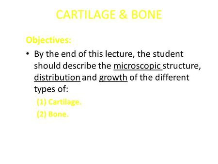CARTILAGE & BONE Objectives: