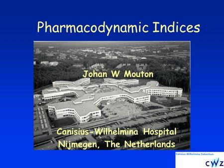 Pharmacodynamic Indices Canisius-Wilhelmina Hospital Nijmegen, The Netherlands Johan W Mouton.