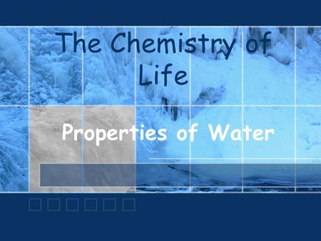 The Chemistry of Life Properties of Water. Water A water molecule (H 2 O), is made up of three atoms: one oxygen and two hydrogen. H H O.