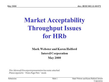 Doc.: IEEE 802.11-00/072 Submission May 2000 Mark Webster and Karen Halford, Intersil Corporation Slide 1 Market Acceptability Throughput Issues for HRb.