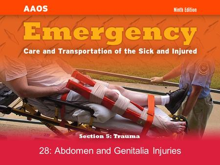28: Abdomen and Genitalia Injuries. 1. State the steps in the emergency medical care of a patient with a blunt or penetrating abdominal injury. 2. Describe.