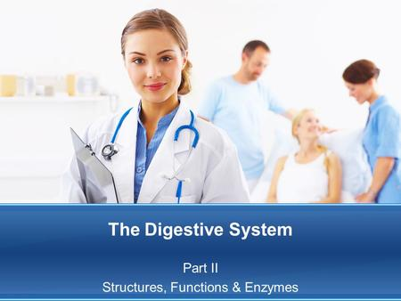 The Digestive System Part II Structures, Functions & Enzymes.