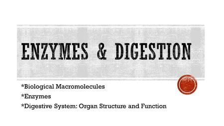 *Biological Macromolecules *Enzymes *Digestive System: Organ Structure and Function.