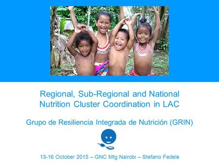 Regional, Sub-Regional and National Nutrition Cluster Coordination in LAC Grupo de Resiliencia Integrada de Nutrición (GRIN) 13-16 October 2015 – GNC Mtg.