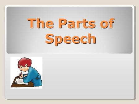 The Parts of Speech. Objectives Students will be able to state the definitions of the 8 parts of speech (noun, pronoun, adjective, verb, adverb, conjunction,