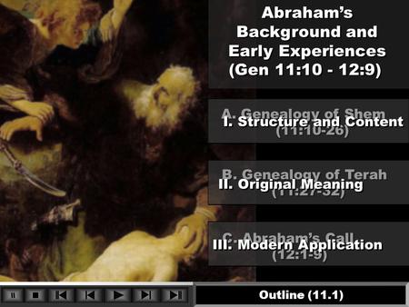 Abraham's Background and Early Experiences (Gen 11:10 - 12:9) Abraham's Background and Early Experiences (Gen 11:10 - 12:9) C. Abraham's Call (12:1-9)