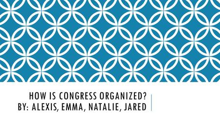 HOW IS CONGRESS ORGANIZED? BY: ALEXIS, EMMA, NATALIE, JARED.
