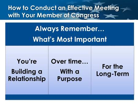 How to Conduct an Effective Meeting with Your Member of Congress Always Remember… What's Most Important You're Building a Relationship Over time… With.