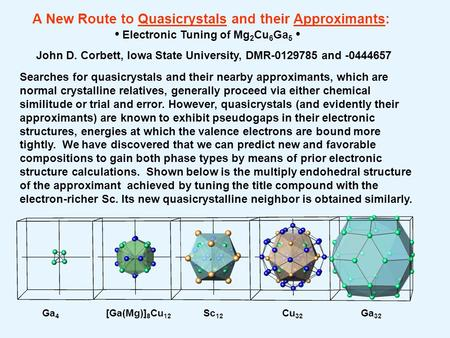 Ga 4 [Ga(Mg)] 8 Cu 12 Sc 12 Cu 32 Ga 32 A New Route to Quasicrystals and their Approximants: Electronic Tuning of Mg 2 Cu 6 Ga 5 John D. Corbett, Iowa.