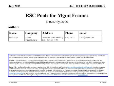 Doc.: IEEE 802.11-06/0848-r2 Submission July 2006 K.HayesSlide 1 RSC Pools for Mgmt Frames Notice: This document has been prepared to assist IEEE 802.11.