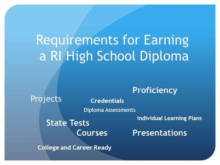 Requirements for Earning a RI High School Diploma State Tests Courses Projects Presentations Individual Learning Plans College and Career Ready Proficiency.