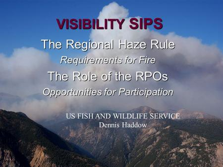VISIBILITY SIPS The Regional Haze Rule Requirements for Fire The Role of the RPOs Opportunities for Participation US FISH AND WILDLIFE SERVICE Dennis Haddow.