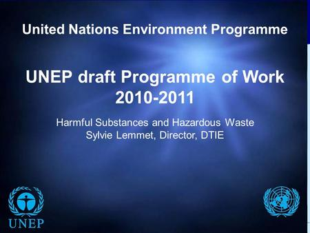 T H E M E D I U M – T E R M S T R A T E G Y 2 0 1 0 – 2 0 1 3 U N E P D R A F T P R O G R A M M E O F W O R K 2 0 1 0 – 2 0 1 1 UNEP draft Programme of.
