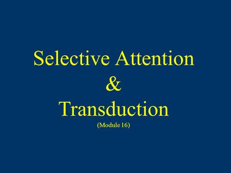 Selective Attention & Transduction (Module 16). Sensation The process by which our sensory systems (eyes, ears, and other sensory organs) and nervous.