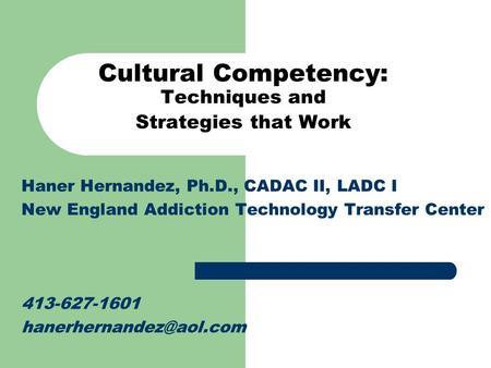 Cultural Competency: Techniques and Strategies that Work Haner Hernandez, Ph.D., CADAC II, LADC I New England Addiction Technology Transfer Center 413-627-1601.