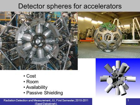 1 Cost Room Availability Passive Shielding Detector spheres for accelerators Radiation Detection and Measurement, JU, First Semester, 2010-2011 (Saed Dababneh).