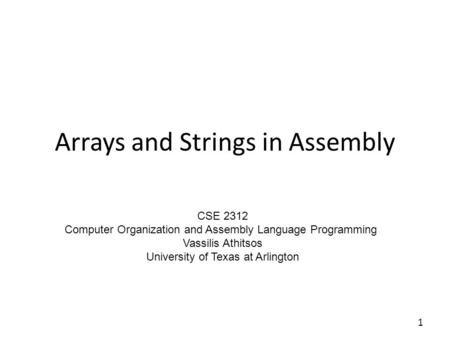 Arrays and Strings in Assembly