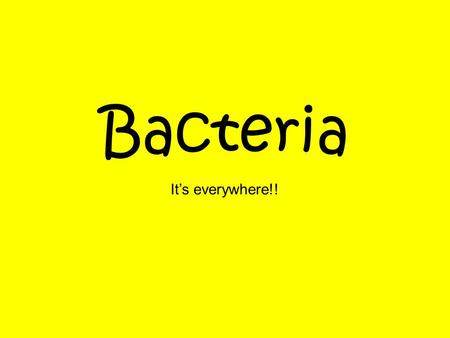 Bacteria It's everywhere!!. What do these two things have in common? YogurtSwiss Cheese.