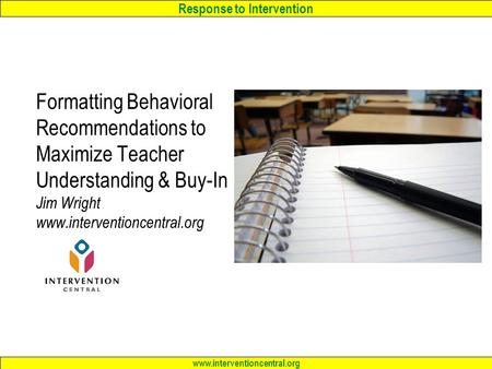 Response to Intervention Intervention Planning, Documentation ...