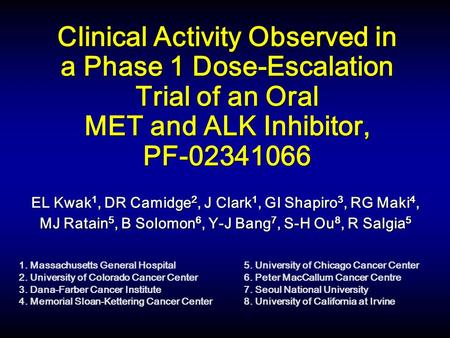 Clinical Activity Observed in a Phase 1 Dose-Escalation Trial of an Oral MET and ALK Inhibitor, PF-02341066 EL Kwak 1, DR Camidge 2, J Clark 1, GI Shapiro.