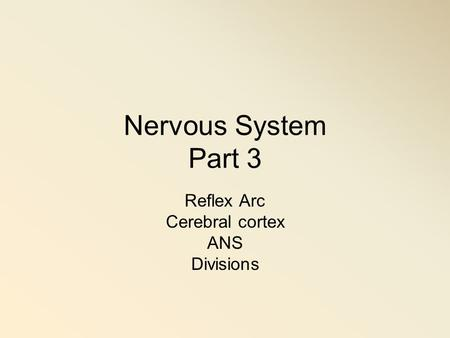 Nervous System Part 3 Reflex Arc Cerebral cortex ANS Divisions.