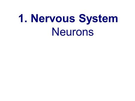 1. Nervous System Neurons. Neuro ns 2. Carry electrical and chemical signals called impulses.