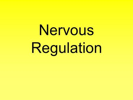 Nervous Regulation. Brain Organ of the Central Nervous It is the primary center for the regulation and control of bodily activities, receiving and interpreting.