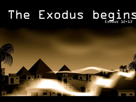 The Exodus begins… Exodus 12+13. God speaks to Moses (11.1-3) Moses speaks to Pharaoh (11.4-9)  Pharaoh's disobedience (11.10) Festival Warning Story.