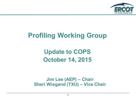 1 Profiling Working Group Update to COPS October 14, 2015 Jim Lee (AEP) – Chair Sheri Wiegand (TXU) – Vice Chair.