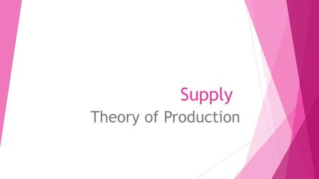Supply Theory of Production. - Theory of Production deals with the relationship between factors of production and the output of goods and services -short.