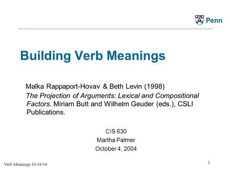 Building Verb Meanings