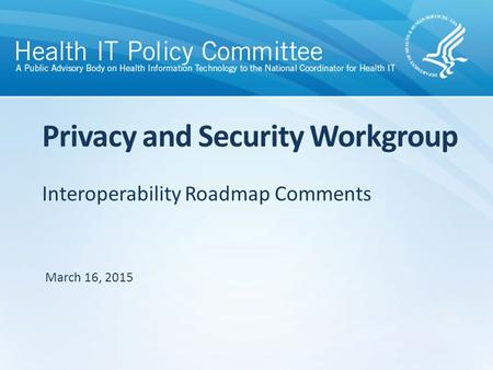 Interoperability Roadmap Comments Privacy and Security Workgroup March 16, 2015.