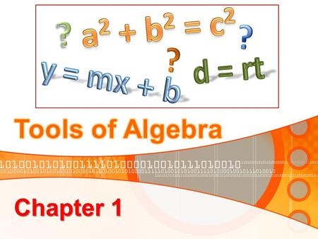 Chapter 1. Introduction In this chapter we will: model relationships using variables, expressions, and equations. apply order of operations to simplify.