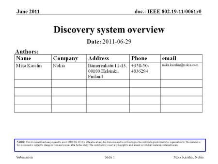 Doc.: IEEE 802.19-11/0061r0 Submission June 2011 Mika Kasslin, NokiaSlide 1 Discovery system overview Notice: This document has been prepared to assist.