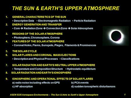 ASEN 5335 Aerospace Environments -- The Sun & Intro to Earth's Upper Atmosphere1 THE SUN & EARTH'S UPPER ATMOSPHERE 9.IONOSPHERIC AND OPERATIONAL EFFECTS.