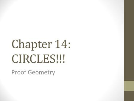 Chapter 14: CIRCLES!!! Proof Geometry. Definitions A circle is the set of all points of a plane that are equidistant from a single point. Picture: A sphere.
