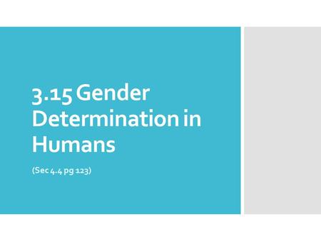 3.15 Gender Determination in Humans (Sec 4.4 pg 123)
