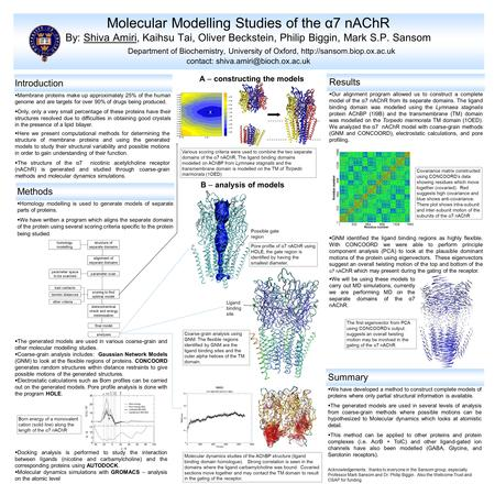  The generated models are used in various coarse-grain and other molecular modelling studies.  Coarse-grain analysis includes: Gaussian Network Models.
