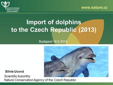 Import of dolphins to the Czech Republic (2013) Silvie Ucová Scientific Autorithy Nature Conservation Agency of the Czech Republic Budapest 18.6.2014.